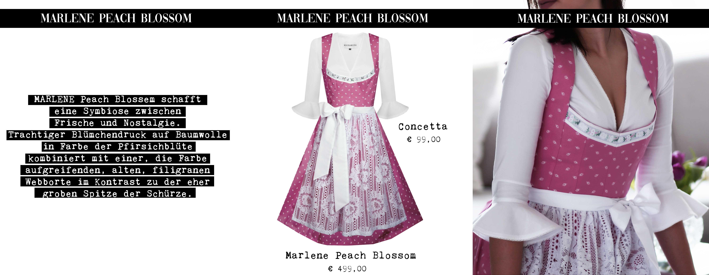 Lookbook 2019 Unser Modell MARLENE Peach Blossem schafft eine Symbiose zwischen Frische und Nostalgie. Trachtiger Blümchendruck auf Baumwolle in Farbe der Pfirsichblüte kombiniert mit einer, die Farbe aufgreifenden, alten, filigranen Webborte im Kontrast zu der eher groben Spitze der Schürze.