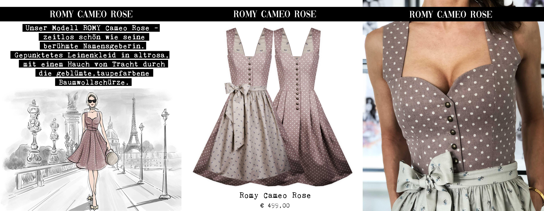 Lookbook 2019 Unser Modell ROMY Cameo Rose – zeitlos schön wie seine berühmte Namensgeberin. Gepunktetes Leinenkleid in altrosa, mit einem Hauch von Tracht durch die geblümte, taupefarbene Baumwollschürze.
