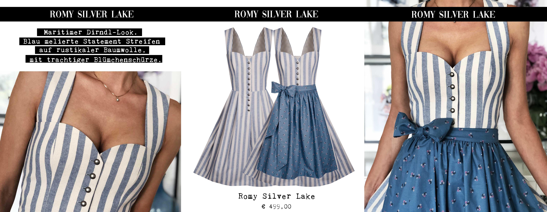 Lookbook 2019 Unser Modell ROMY Silver Lake – maritimer Dirndl-Look. Blau melierte Statementstreifen auf rustikaler Baumwolle, mit trachtiger Blümchenschürze.