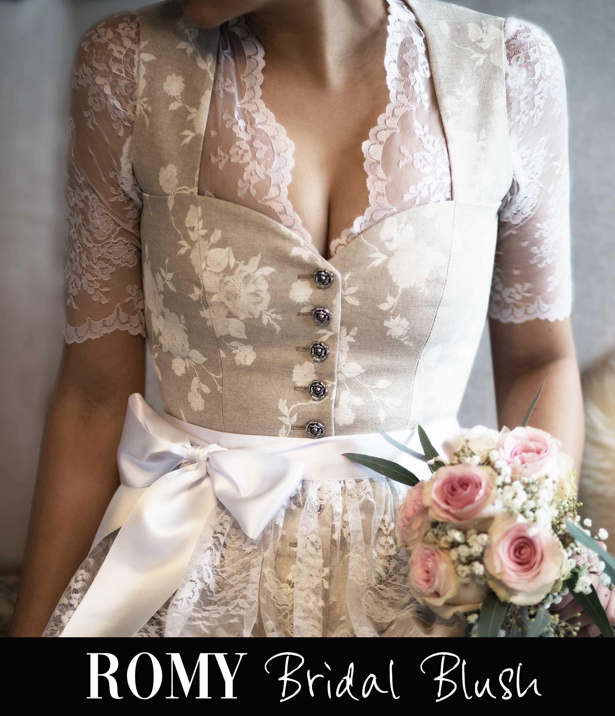 Dirndlkleid ROMY Bridal Blush und Dirndlbluse CÉCILE